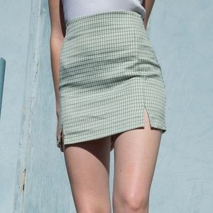 Brandy Melville Light Green Plaid Skirt Wrap
